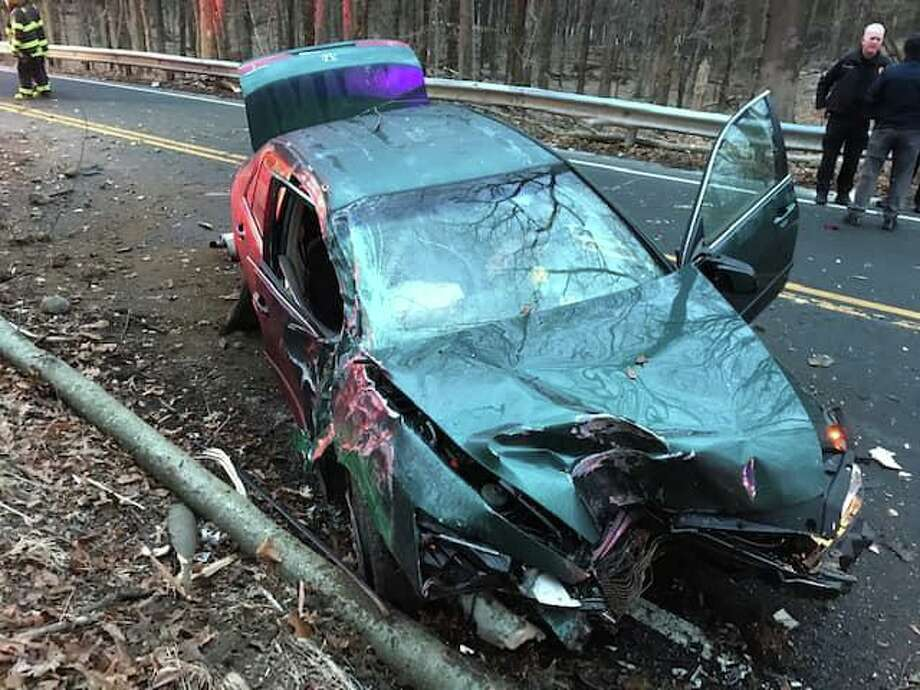 The vehicle involved in a crash on Route 136 in Easton, Conn., on Friday, Jan. 10, 2020. Photo: Contributed Photo / Easton EMS
