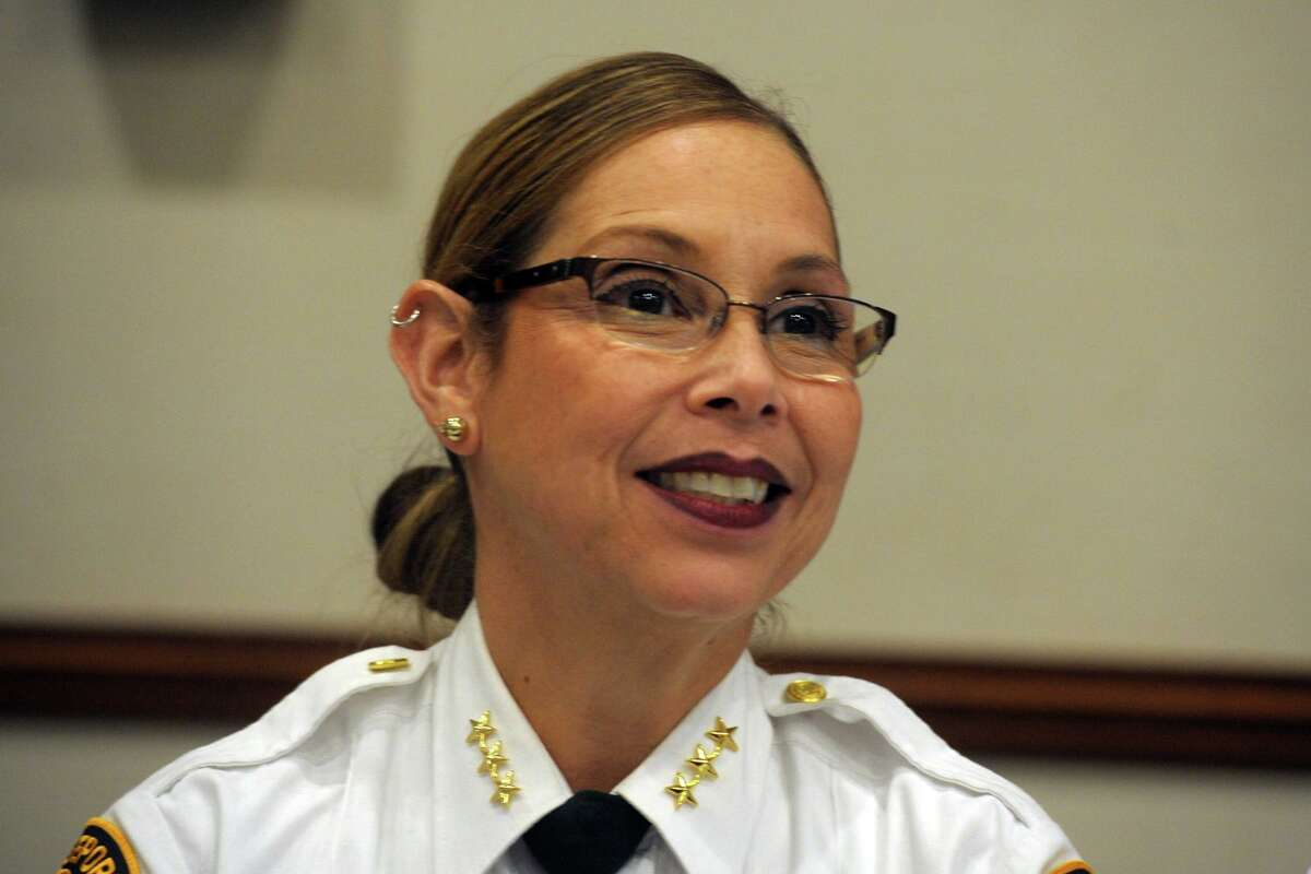 Assistant Police Chief Rebeca Garcia speaks attends Racial Profiling Prohibition Project community forum at the Morton Government Center, in Bridgeport, Conn. Jan. 9, 2020.