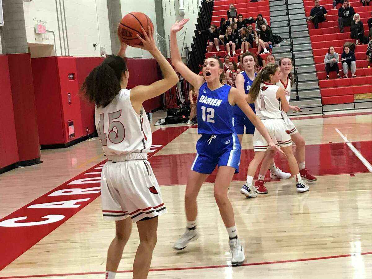 Mackenzie Nelson (15) scored a game-high 29 points in the Greenwich girls basketball team's 50-37 win vs. Darien on Friday, Jan. 10, 2020 in Greenwich.