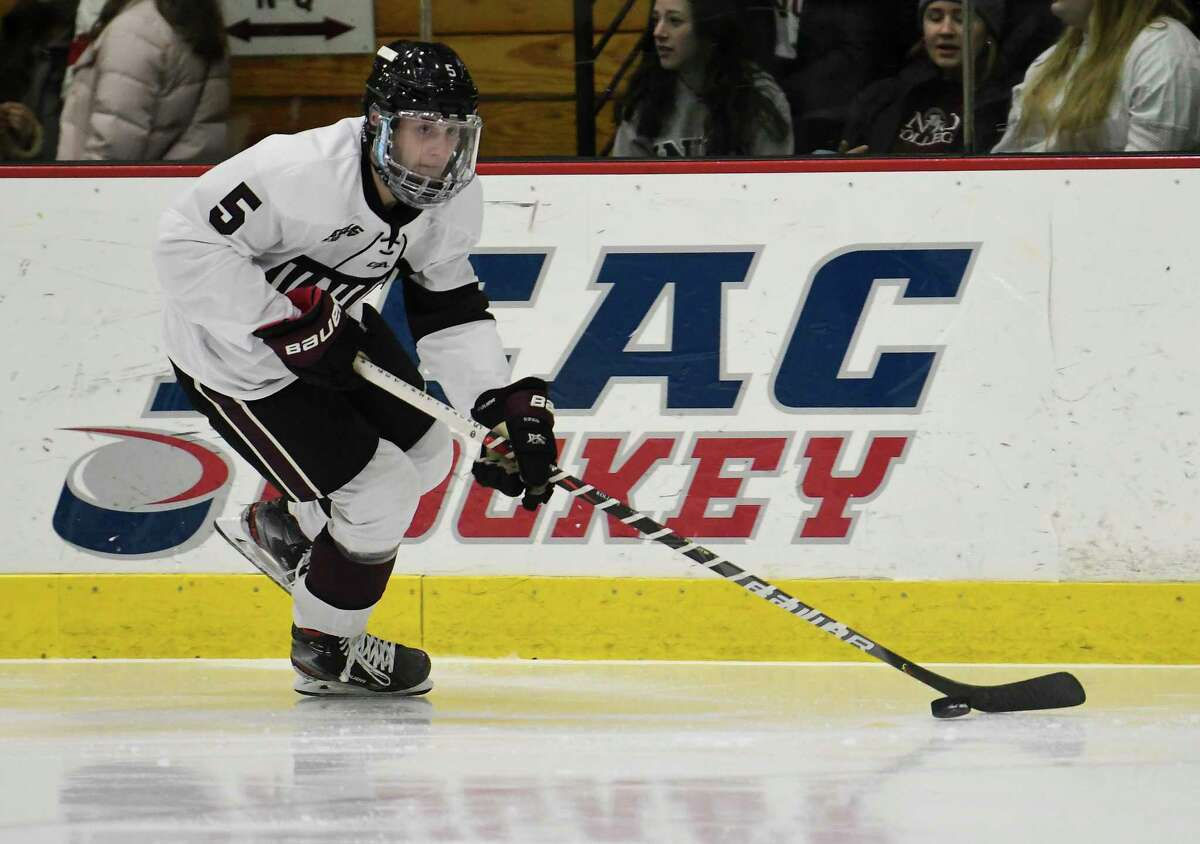 Union defenseman Vas Kolias (5) skates with the puck against Colgate during an NCAA college hockey game Friday, Jan. 10, 2020, in Schenectady, N.Y.,