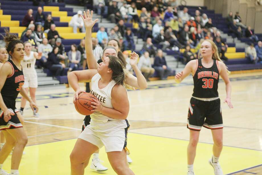Manistee's Lyndsey Kelley looks to score during the Chippewas' defeat at the hands of Ludington on Friday. Photo: Kyle Kotecki/News Advocate