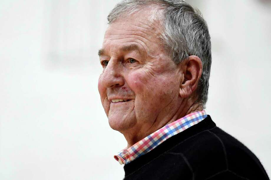 Saint Joseph coach Jim Calhoun smiles during the first half of the team's NCAA college basketball game against Pratt Institute, Friday, Jan. 10, 2020, in West Hartford, Conn. Now coaching Division III basketball with the same fire he stalked the sidelines at UConn, Calhoun is reaching his 900th win as a college coach. (AP Photo/Jessica Hill) Photo: Jessica Hill / Associated Press / Copyright 2020 The Associated Press. All rights reserved.