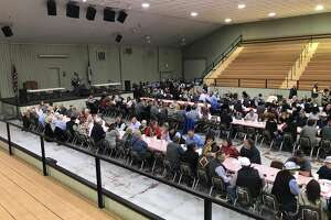 Stock Show supporters gather for a fundraiser Steak Dinner at the Ollie Liner Center on Thursday evening.