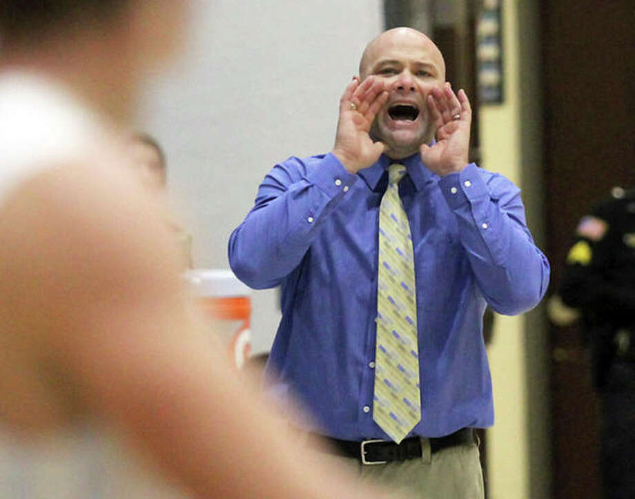 Jersey coach Stote Reeder's Panthers dropped a 65-50 Mississippi Valley Conference decision to Triad Friday night in Troy. The loss dropped Jersey to 9-6 overall and 2-1 in the conference. Photo: Telegraph Photo