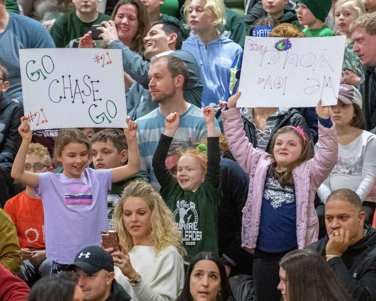 Young Shenendehowa fans cheer for their team during a Suburban Council game against Colonie at Shenendehowa High School on Friday, Jan. 10, 2019 (Jim Franco/Special to the Times Union.)