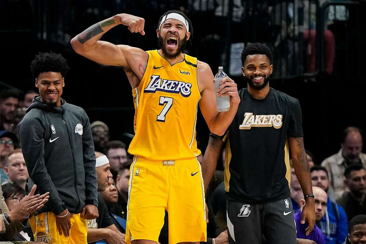 The Los Angeles Lakers' JaVale McGee (7) celebrates a Lakers basket during the first half against the Dallas Mavericks at American Airlines Center on Friday, Jan. 10, 2020, in Dallas. (Smiley N. Pool/Dallas Morning News/TNS)