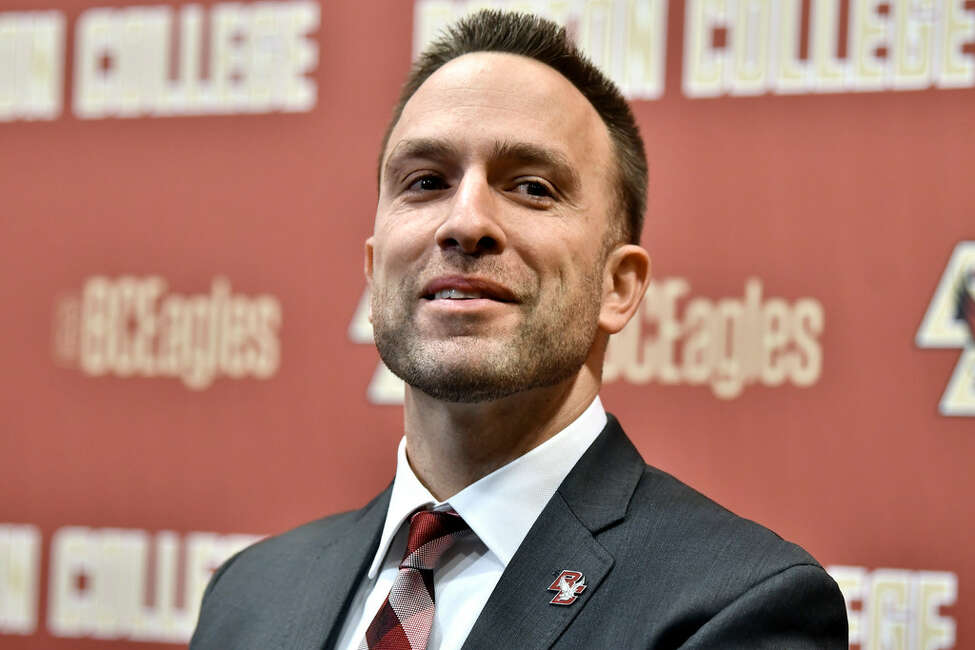 Jeff Hafley, a Siena graduate and former UAlbany coach, was introduced as Boston College football coach in December. (Josh Reynolds/Associated Press)
