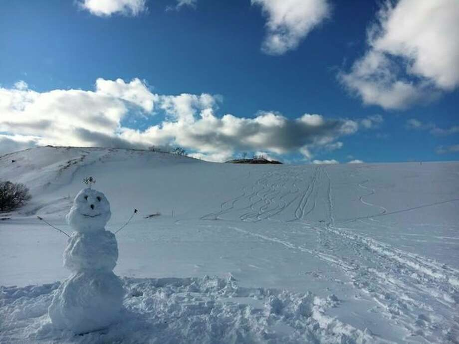A smiling snowman stands ready to celebrate 50 years of Sleeping Bear Dunes National Lakeshore. (Courtesy Photo/National Park Service)
