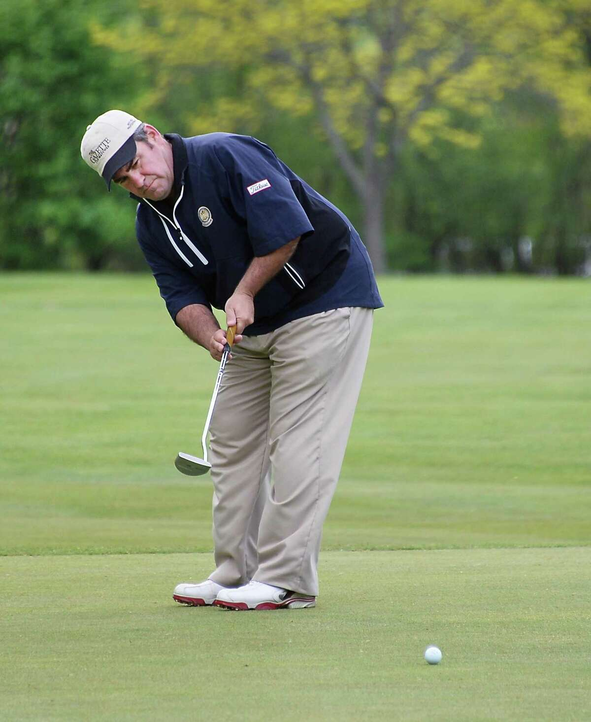 Noel Gebauer putts during the annual Challenge Cup pros vs. amateurs team competition between the Northeastern New York PGA and the Capital Region Amateur Golf Association at the Edison Club Wednesday May 13, 2015 in Rexford, NY. (John Carl D'Annibale / Times Union)