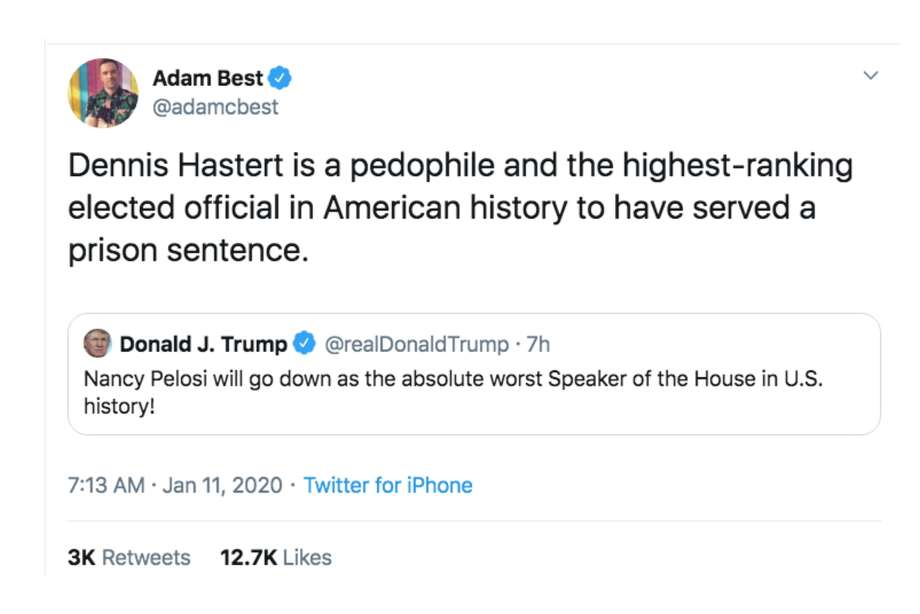 Twitter users respond to President Donald Trump's Jan. 11, 2020 tweet calling Nancy Pelosi the worst House speaker in history. Photo: Screenshot Via Twitter