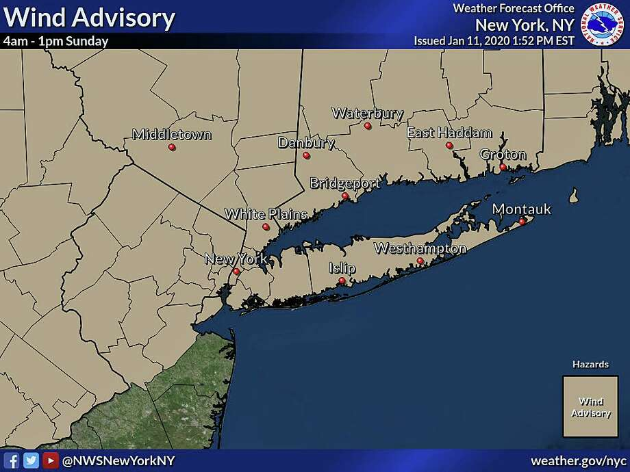 A wind advisory will be in effect from 4 a.m. to 1 p.m. on Sunday, Jan. 12, 2020. Photo: Contributed Photo / National Weather Service