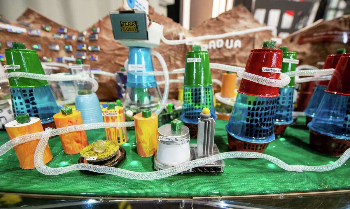 Terraqua, a city devised by Broadalbin-Perth Middle School students and one of three finalists at the annual National Engineers Week Future City Competition held at the Sage College Armory on Saturday, Jan. 11, 2019 (Jim Franco/Special to the Times Union.)