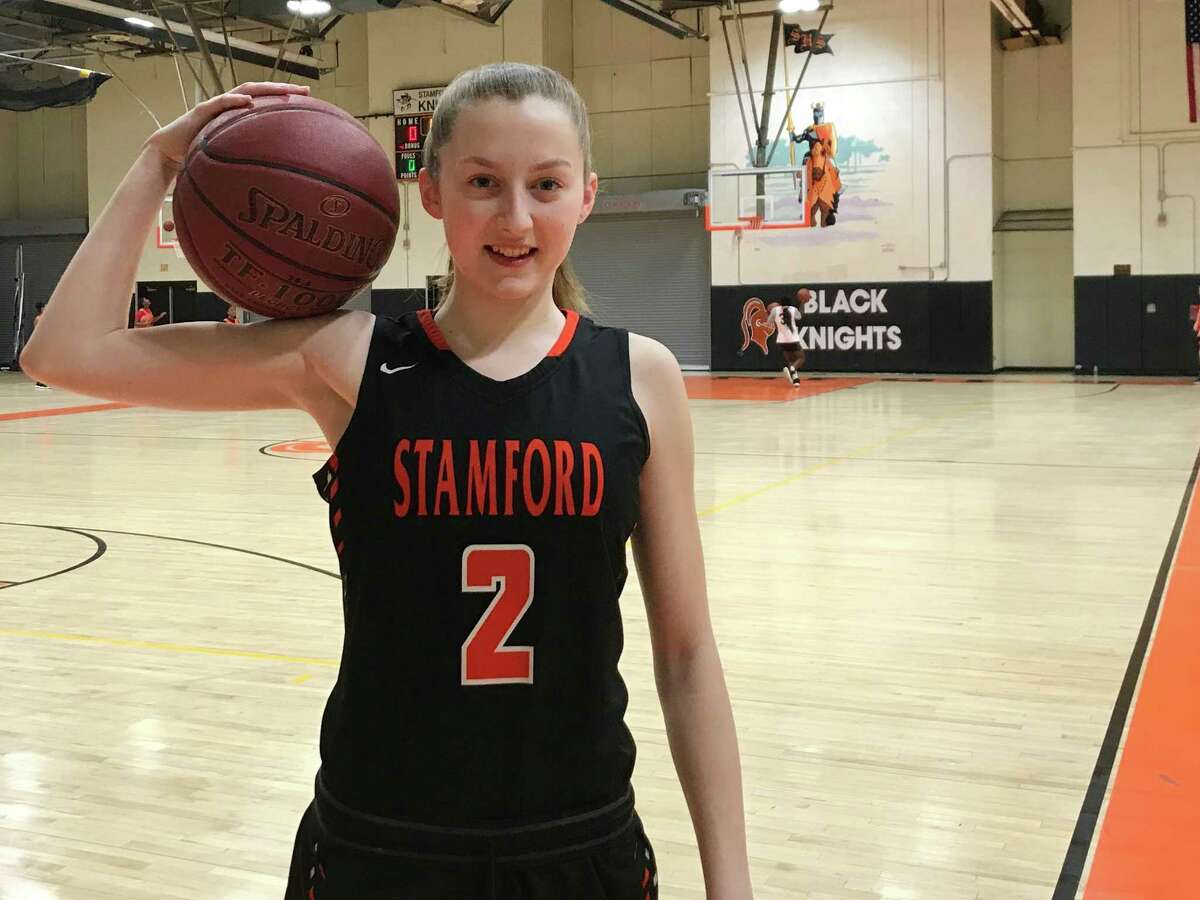 Stamford senior guard Megan Landsiedel of the girls basketball team in Kuczo gym at Stamford High School on Jan. 9, 2020 in Stamford, Conn. Landsiedel is a four-year starter for the Black Knights.