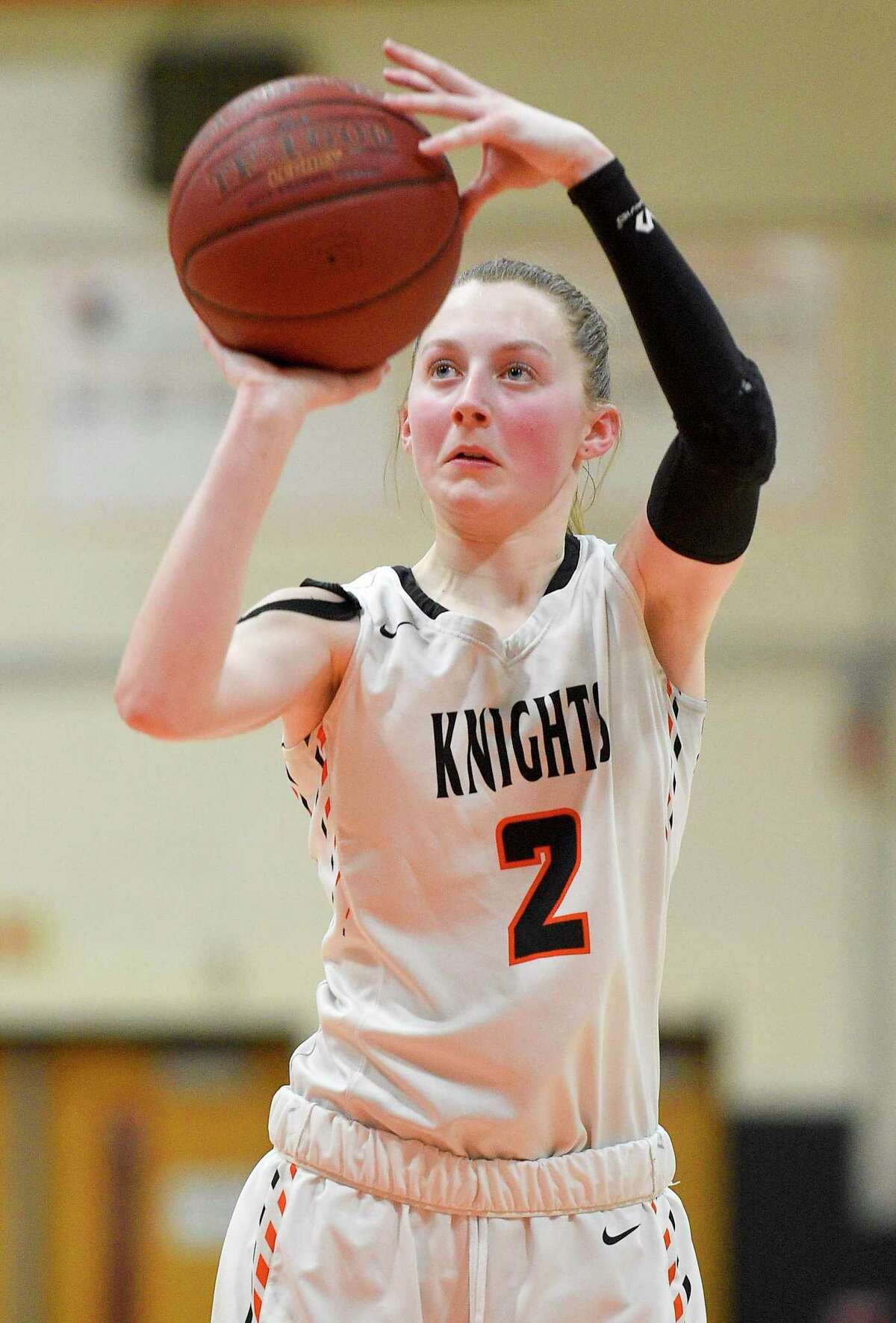 Stamford's Megan Landsiedel (2) in action against Fairfield Ludlowe in a girls basketball game on Jan. 10, 2020 in Stamford, Connecticut. Landsiedel lead the Lady Black Knights with 13 points in their 37-32 win over the Lady Falcons.