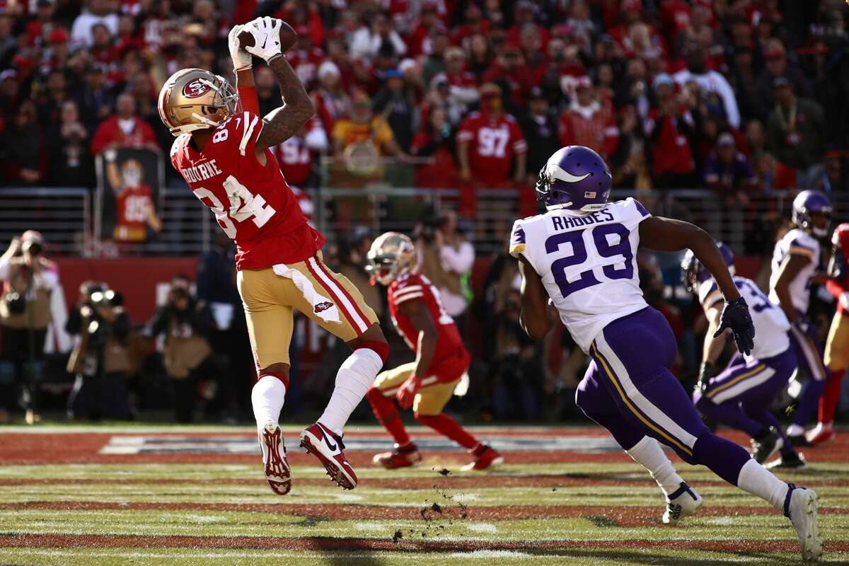 Kendrick Bourne #84 of the San Francisco 49ers catches a touchdown pass during the first quarter against the Minnesota Vikings during the NFC Divisional Round Playoff game at Levi's Stadium on January 11, 2020 in Santa Clara, California. (Photo by Ezra Shaw/Getty Images)