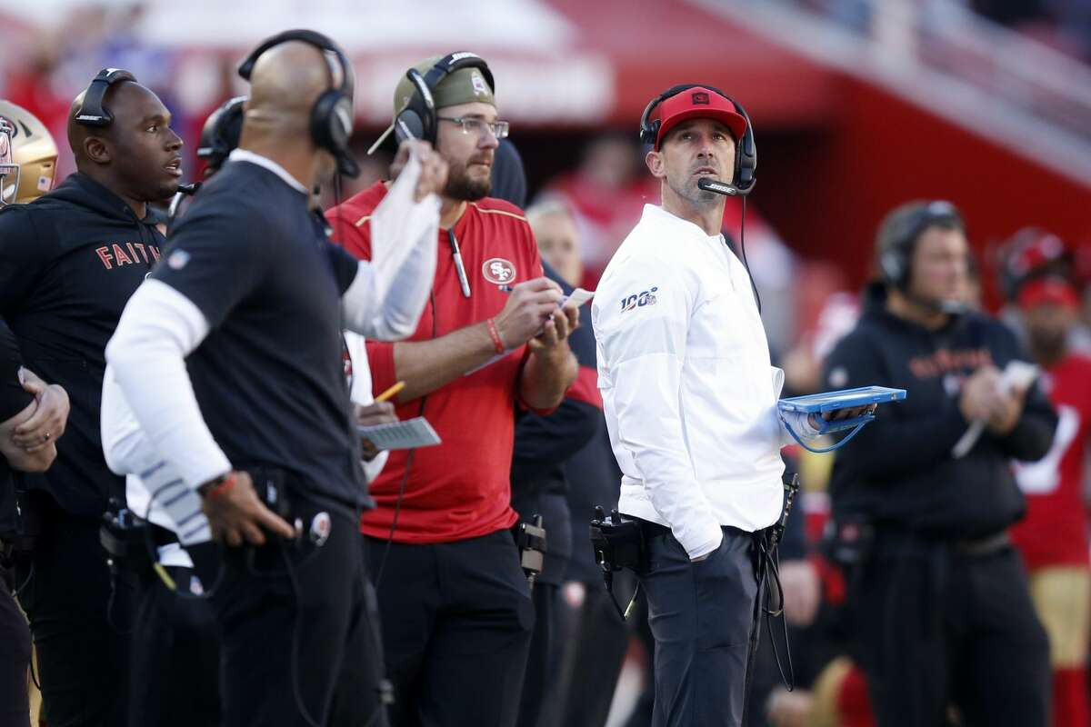 Head coach Kyle Shanahan of the San Francisco 49ers looks on against the Minnesota Vikings during the NFC Divisional Round Playoff game at Levi's Stadium on January 11, 2020 in Santa Clara, California. (Photo by Lachlan Cunningham/Getty Images)
