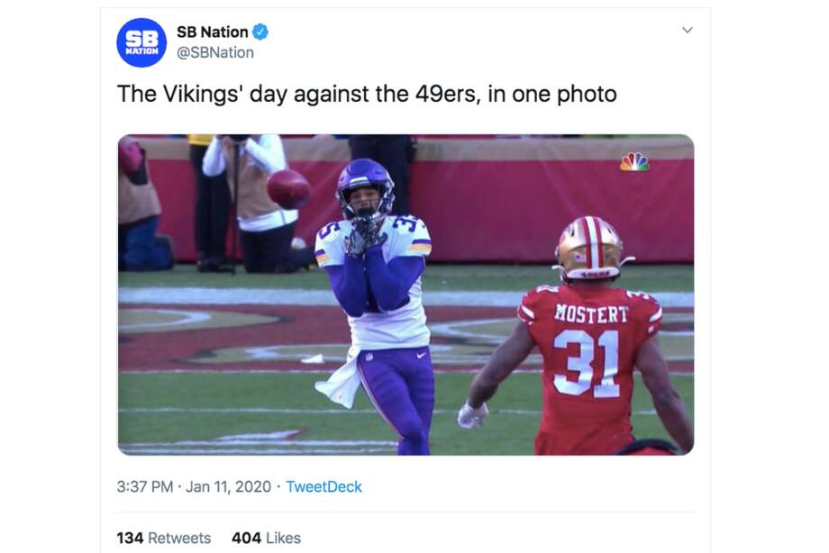 Twitter had plenty of reactions to the 49ers' victory over the Vikings in the NFC Divisional Round on Jan. 11, 2020. Photo: Screenshot Via Twitter
