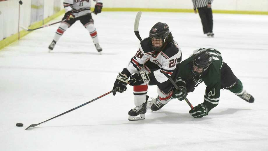 New Canaan's Michael Rayher (28) and Northwest Catholic's Cam Porter (20) get tangled up during the first period of a boys ice hockey game at the Darien Ice House on Saturday, Jan. 11, 2020. Photo: Dave Stewart / Hearst Connecticut Media / Hearst Connecticut Media