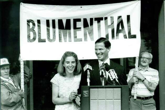Richard Blumenthal with his wife Cynthia announces his bid to become Connecticut's Attorney General on June 28th, 1989. (Location unknown) Photo: File Photo / Connecticut Post File Photo