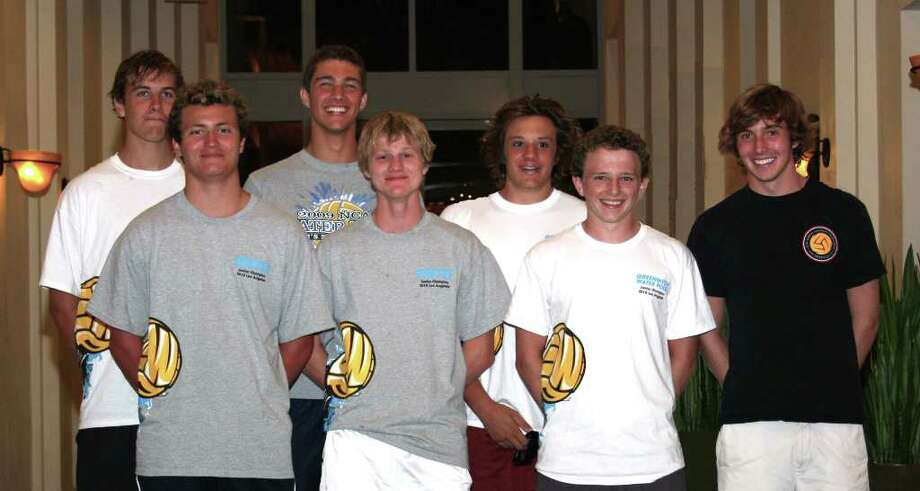 Seven Greenwich Water Polo players were chosen as Academic All-Americans. They are, front row left to right: J Whelan, Tom Jensen, Scott Anderson and James Kelly. Back Row: Simon Tebbe, Matt Weber and Clayton Hardman. Photo: Contributed Photo / Greenwich Time Contributed