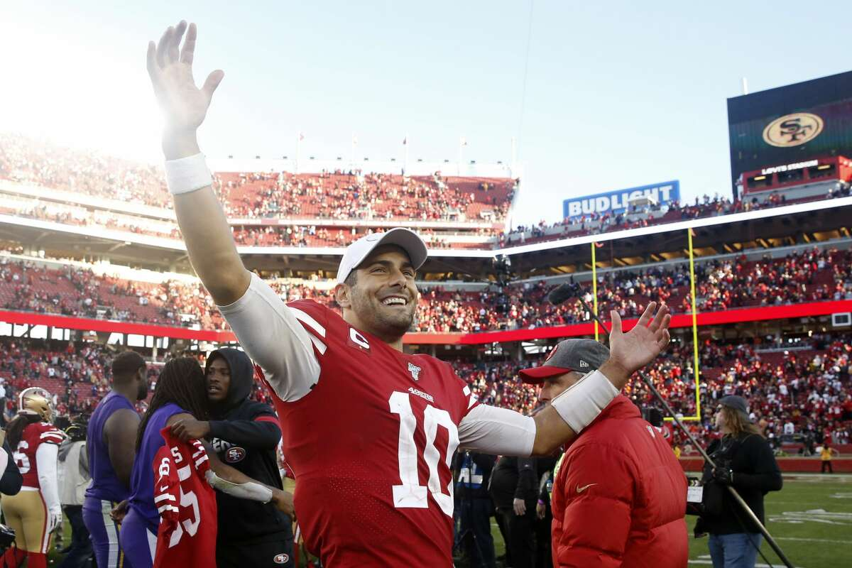 Jimmy Garoppolo #10 of the San Francisco 49ers reacts to winning the NFC Divisional Round Playoff game against the Minnesota Vikings at Levi's Stadium on January 11, 2020 in Santa Clara, California. The San Francisco 49ers won 27-10. (Photo by Lachlan Cunningham/Getty Images)