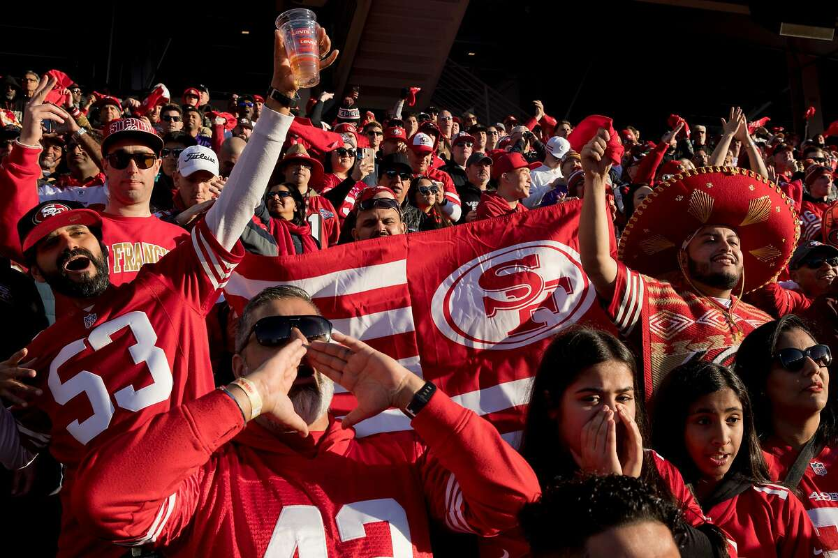 Fans cheer in the stands during a NFC Divisional Playoff game between the San Francisco 49ers and Minnesota Vikings held at Levis Stadium in Santa Clara, Calif. Saturday, Jan. 11, 2020.