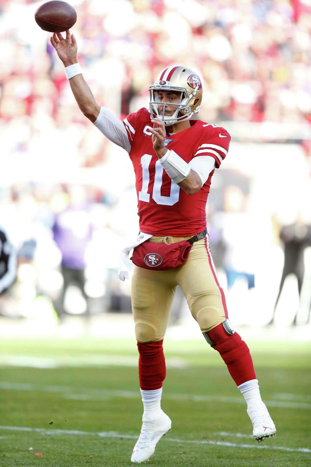 SANTA CLARA, CALIFORNIA - JANUARY 11: Jimmy Garoppolo #10 of the San Francisco 49ers throws a pass during the second half against the Minnesota Vikings during the NFC Divisional Round Playoff game at Levi's Stadium on January 11, 2020 in Santa Clara, California. (Photo by Lachlan Cunningham/Getty Images)