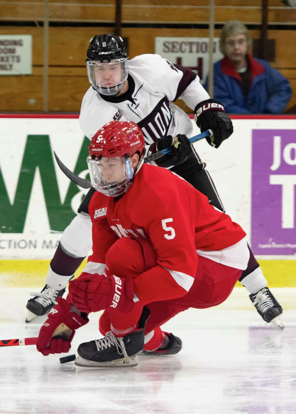 Cornell defenseman Sebastian Dirven blocks a shot from Union forward Anthony Rinaldi during a game at Frank L. Messa Rink in Schenectady, N.Y. on Saturday, Jan. 11, 2020. (Jenn March, Special to the Times Union )