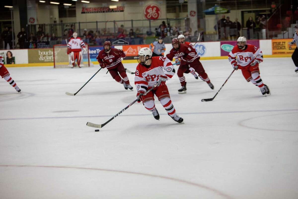 RPI's Patrick Polino (29) moves the puck against Cornell on Saturday, January 11, 2020 in Troy.