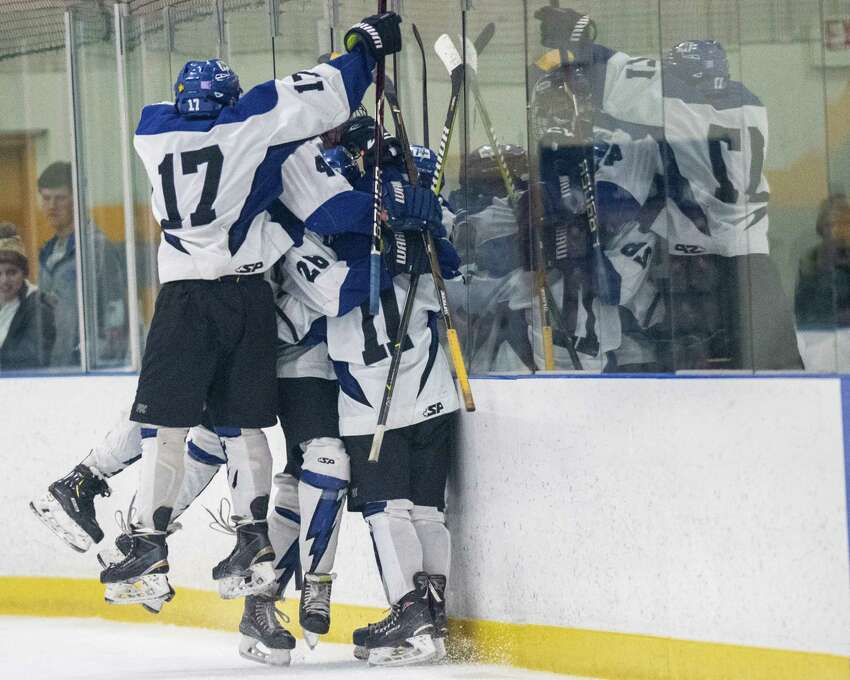 The Saratoga hockey team celebrates a goal during a Capital District High School Hockey League game against CBA at the Albany County Hockey Facility in Colonie on Saturday, Jan. 11, 2019 (Jim Franco/Special to the Times Union.)