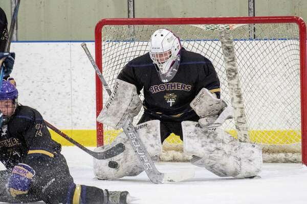 CBA goalie Josh Coburn makes a save during a Capital District High School Hockey League game against Saratoga at the Albany County Hockey Facility in Colonie on Saturday, Jan. 11, 2019 (Jim Franco/Special to the Times Union.)