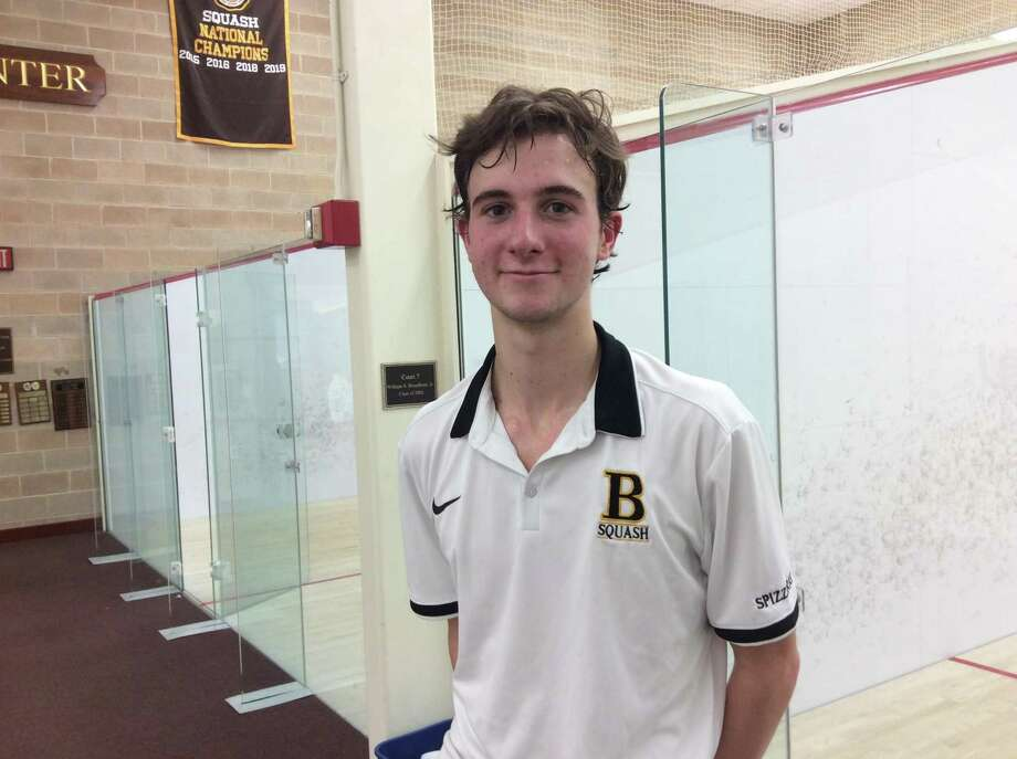Senior Nick Spizzirri plays at the No. 1 spot for the Brunswick School squash team. Photo: David Fierro /Hearst Connecticut Media