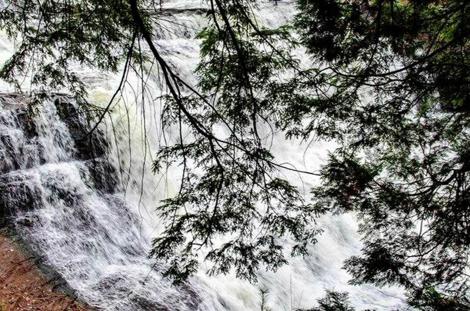 Hemlock branches shield a view of Agate Falls on the Middle Branch of the Ontonagon River. (Michigan DNR/Courtesy Photo)