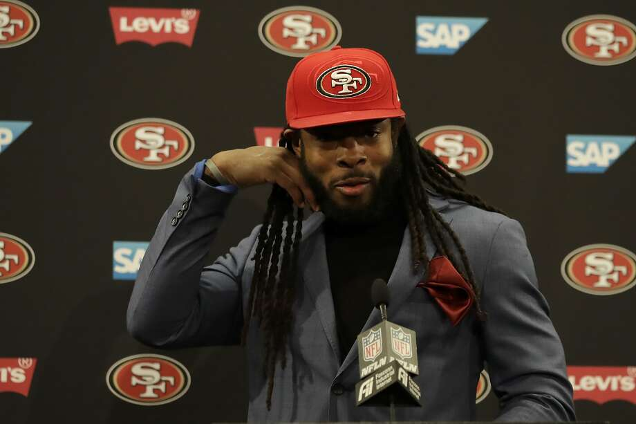 San Francisco 49ers cornerback Richard Sherman speaks at a news conference after the 49ers defeated the Minnesota Vikings in an NFL divisional playoff football game, Saturday, Jan. 11, 2020, in Santa Clara, Calif. Photo: Ben Margot / Associated Press