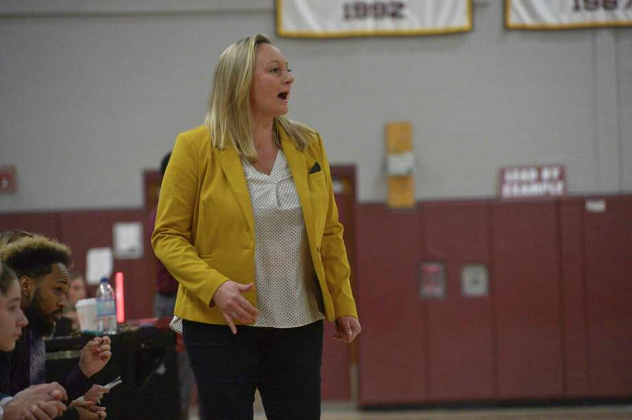 Notre Dame-Fairfield head coach Maria Conlon during a girls basketball game between Notre Dame-Fairfield and Bethel high schools, Thursday night, January 9, 2020, at Bethel High School, Bethel, Conn. Photo: H John Voorhees III / Hearst Connecticut Media / The News-Times