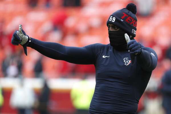 Houston Texans outside linebacker Whitney Mercilus warms up before an AFC divisional playoff game against the Kansas City Chiefs at Arrowhead Stadium on Sunday, Jan. 12, 2020, in Kansas City, Mo.