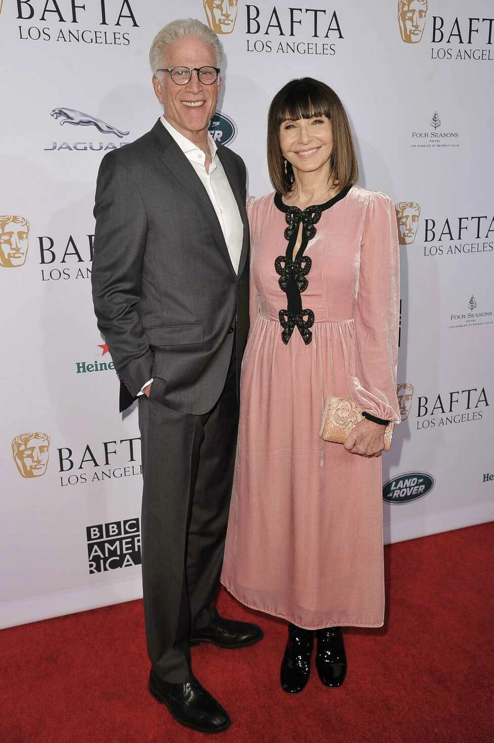 Ted Danson, left, and Mary Steenburgen attend the 2020 BAFTA tea party at the Four Seasons Hotel on Saturday, Jan. 4, 2020, in Los Angeles. (Photo by Richard Shotwell/Invision/AP)