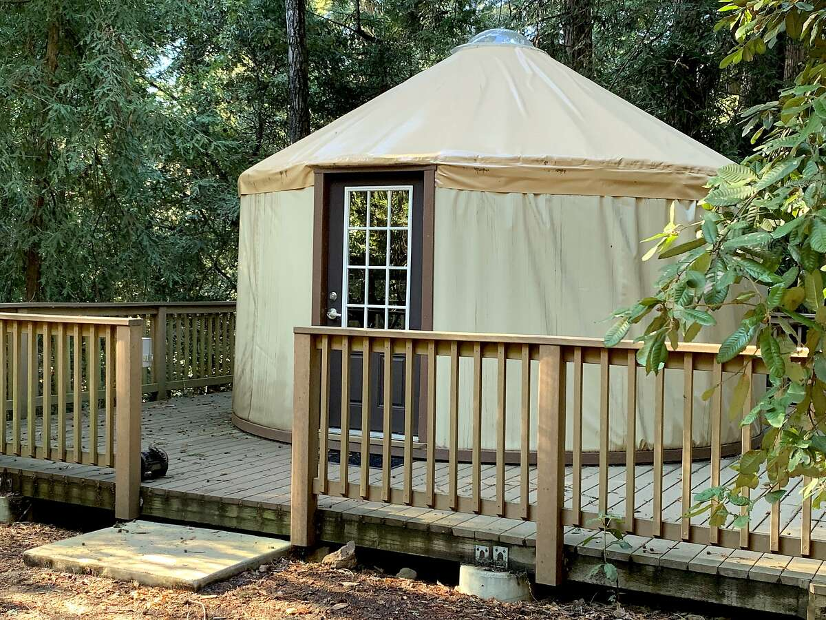 On a loop of the Valley View campground, a series of yurts nestled in redwoods are available for rent