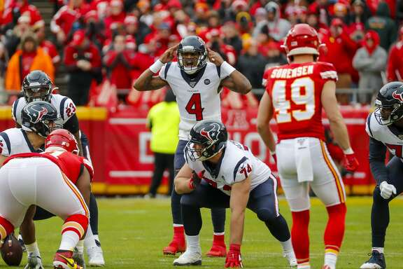 Houston Texans quarterback Deshaun Watson (4) calls out a play during the first quarter of an AFC divisional playoff game at Arrowhead Stadium on Sunday, Jan. 12, 2020, in Kansas City, Mo.