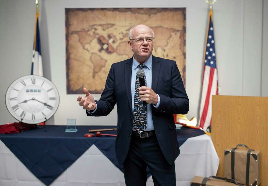 Outgoing chairman Phil Knutson speaks to the audience reminiscing his adventures as chairman and what he hopes for the future of the chamber, on Friday, Jan. 11, 2020. Knutson has been an active member of the chamber since 2015. Photo: Gustavo Huerta, Houston Chronicle / Staff Photographer / Houston Chronicle