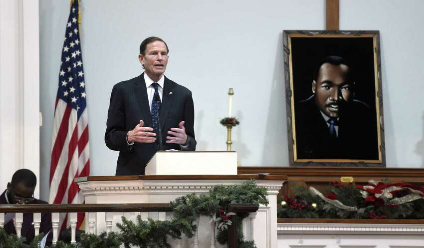 U.S. Senator Richard Blumenthal speaks at the West Haven Black Coalition's 34th annual tribute to The Rev. Dr. Martin Luther King, Jr., at the First Congregational Church in West Haven on January 12, 2020.