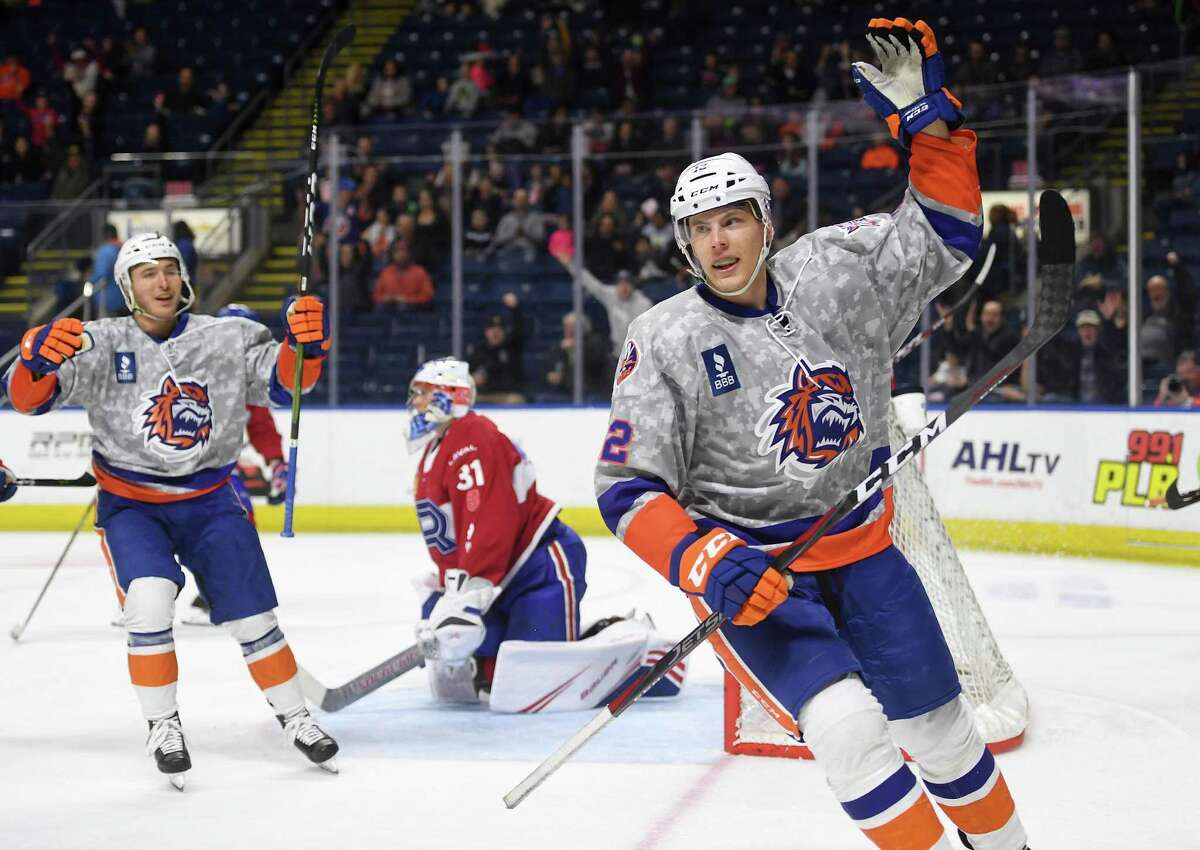 Bridgeport Sound Tiger forward Otto Koivula celebrates his second goal of the first period during their AHL hockey game with the Laval Rocket at the Webster Bank Arena in Bridgeport, Conn. on Sunday, January 12, 2020.