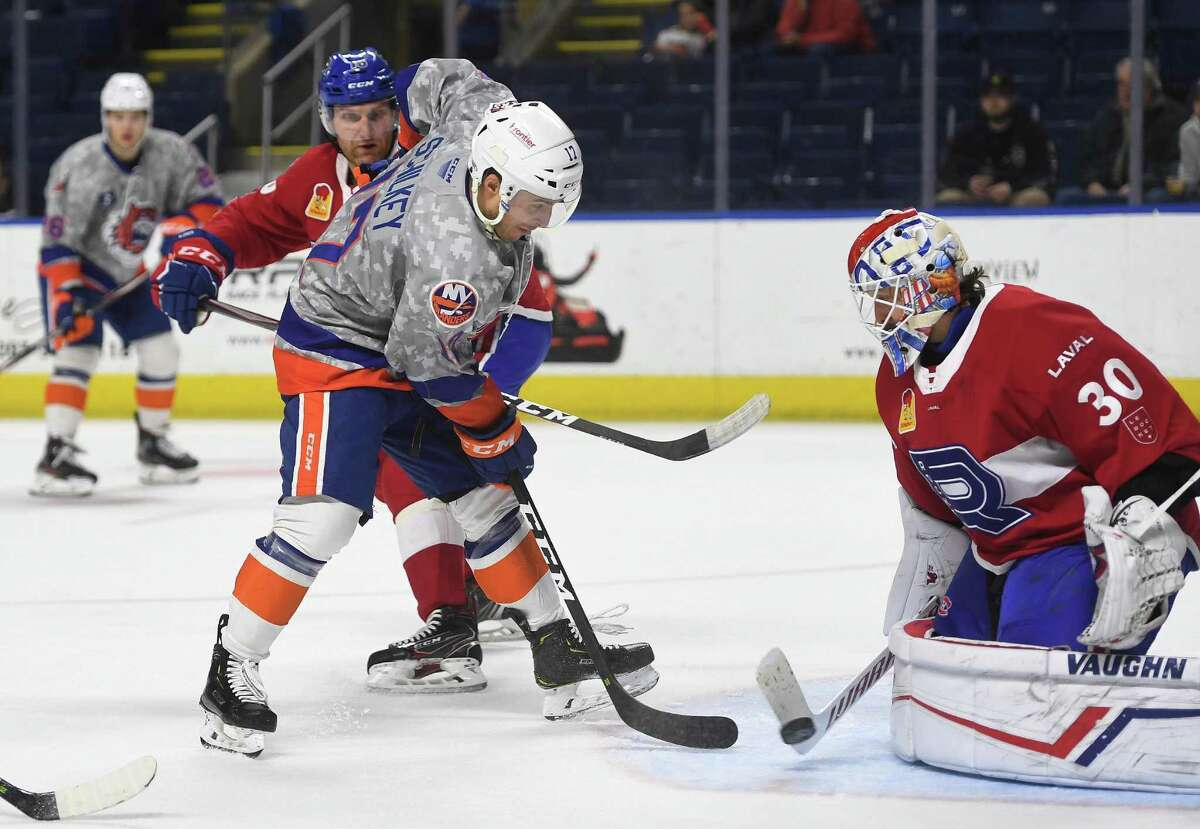 Bridgeport Sound Tiger forward Nick Schilkey takes a point blank shot on Laval Rocket goalie Keith Kincaid during the first period during their AHL hockey game at the Webster Bank Arena in Bridgeport, Conn. on Sunday, January 12, 2020.