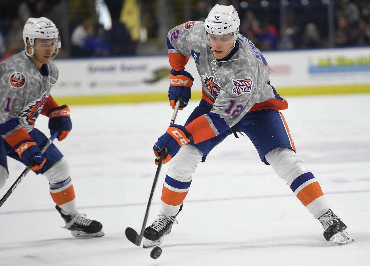Otto Koivula. Bridgeport Sound Tigers v. Laval Rocket AHL hockey at the Webster Bank Arena in Bridgeport, Conn. on Sunday, January 12, 2020.