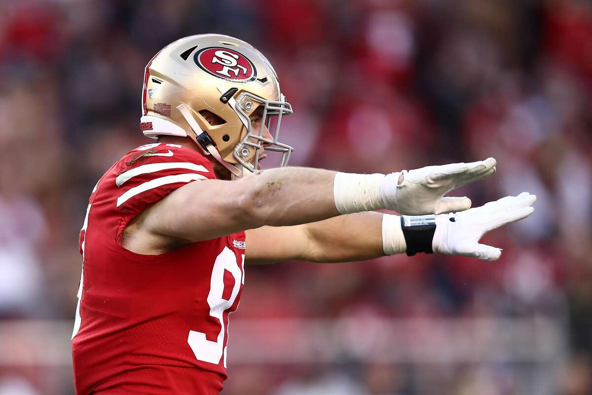 Nick Bosa #97 of the San Francisco 49ers reacts to a broken up pass play during the third quarter against the Minnesota Vikings during the NFC Divisional Round Playoff game at Levi's Stadium on January 11, 2020 in Santa Clara, California. (Photo by Ezra Shaw/Getty Images)