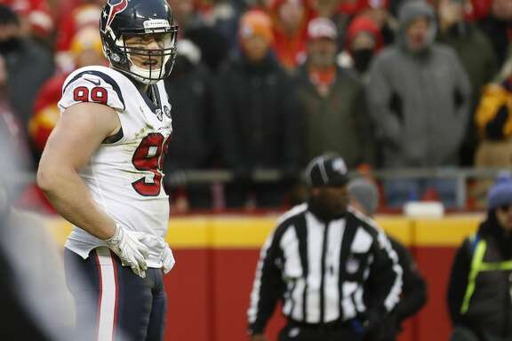 Houston Texans defensive end J.J. Watt (99) in the third quarter of an AFC divisional playoff game at Arrowhead Stadium on Sunday, Jan. 12, 2020, in Kansas City, Mo.