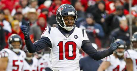 Houston Texans wide receiver DeAndre Hopkins (10) reacts after a play during the second quarter of an AFC divisional playoff game at Arrowhead Stadium on Sunday, Jan. 12, 2020, in Kansas City, Mo.