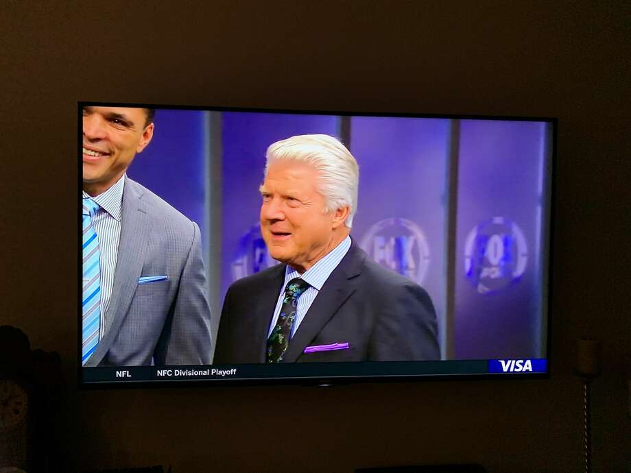 Super Bowl-winning coach and Port Arthur native Jimmy Johnson reacts with emotion after being told on live TV that he will be inducted into the NFL Hall of Fame. The news was delivered Jan. 12, 2020, during halftime of the evening NFC playoff game. Photo: Screenshot Of Fox Broadcast Taken By Ronnie Crocker