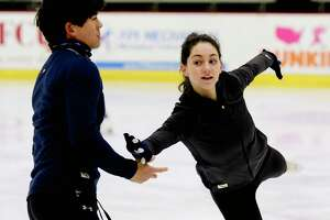 Olivia Serafini and her skating partner, Mervin Tran, practice at the Frank L. Messa Rink at Union College on Thursday, Dec. 26, 2019, in Schenectady, N.Y.   (Paul Buckowski/Times Union)