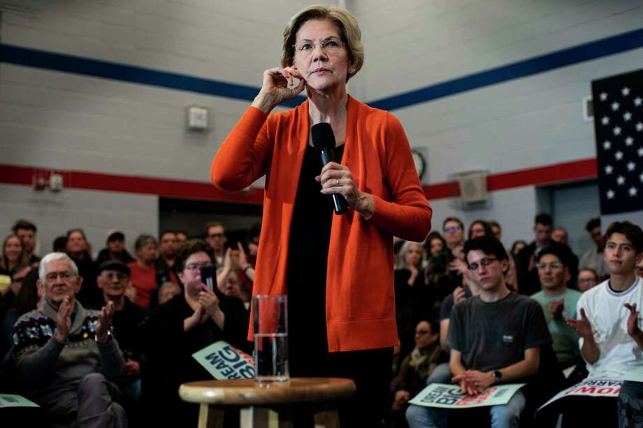 Sen. Elizabeth Warren, D-Mass., at a town hall-style gathering Sunday in Iowa, has largely avoided a full confrontation with Bernie Sanders. Photo: Washington Post Photo By Melina Mara / The Washington Post
